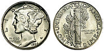 A Mercury dime with 90% silver content
