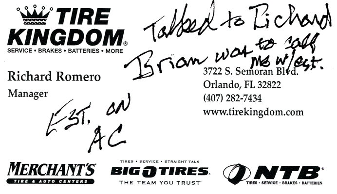 Tire Kingdom card with my scribbles