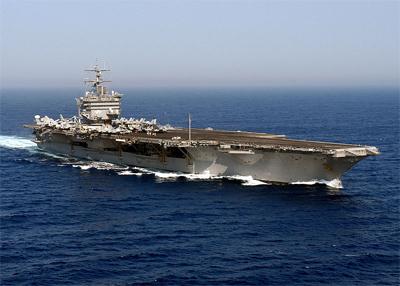USS Enterprise aircraft carrier at sea